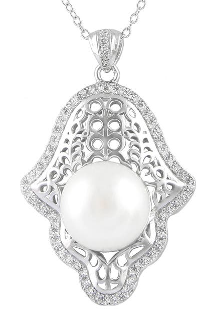 Image of Splendid Pearls Hamsa 12-12.5mm Cultured Freshwater Pearl Pendant Necklace