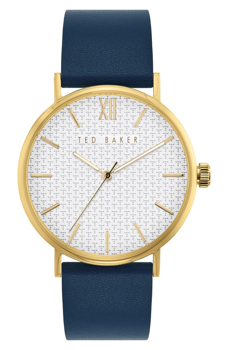 TED BAKER LONDON Phylipa Gents Leather Strap Watch, 43mm, Main, color, BLUE/ WHITE T-PATTERN/ GOLD