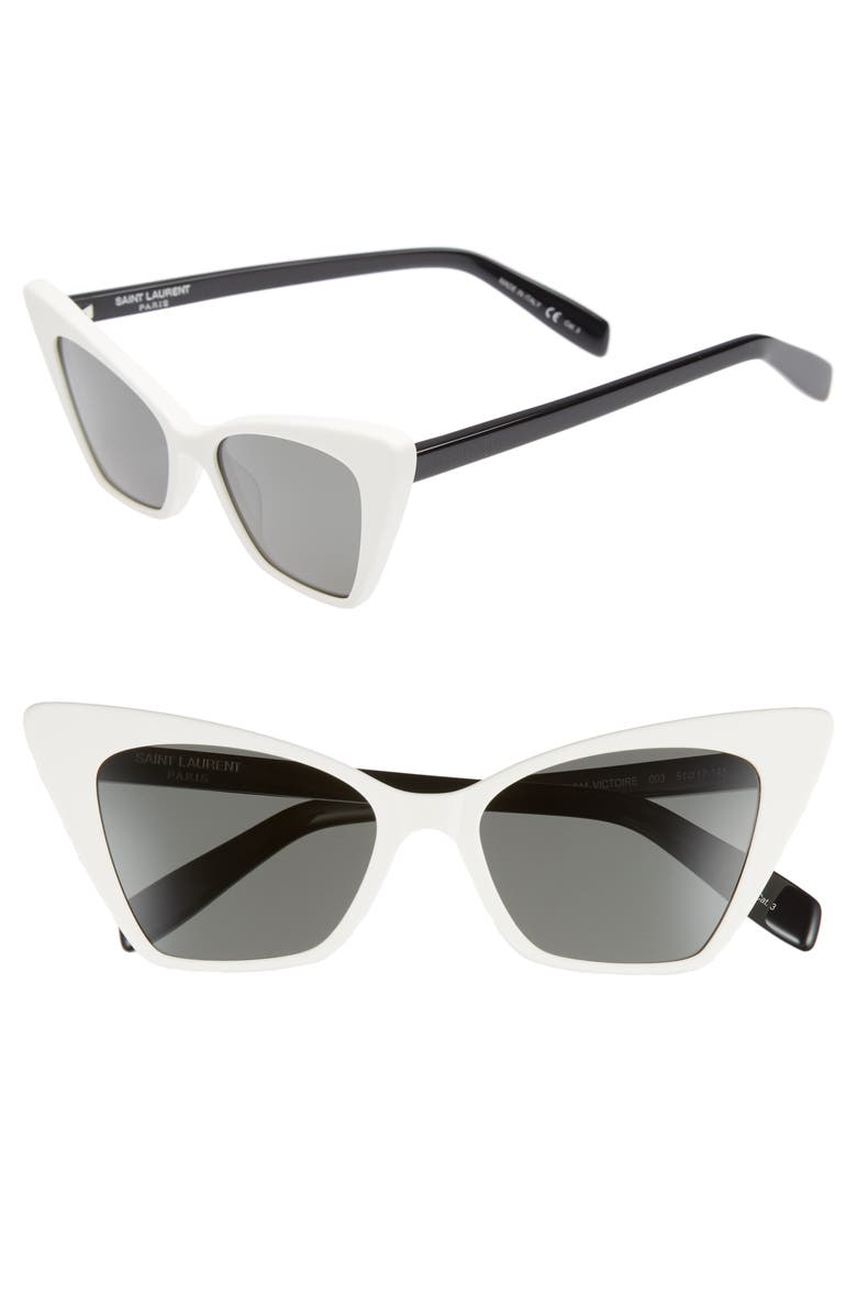 SAINT LAURENT 51mm Cat Eye Sunglasses, Main, color, IVORY
