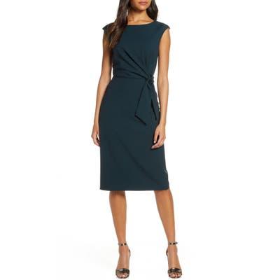Tahari Cap Sleeve Crepe Sheath Dress, Blue/green
