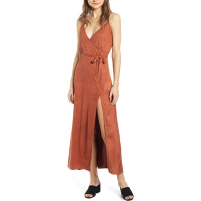 Lira Clothing Night Bloom Faux Suede Maxi Dress, Red