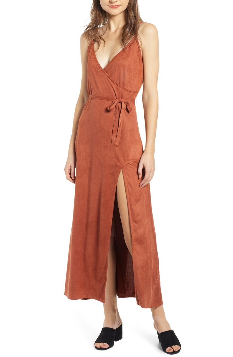 LIRA CLOTHING Night Bloom Faux Suede Maxi Dress, Main, color, RUST