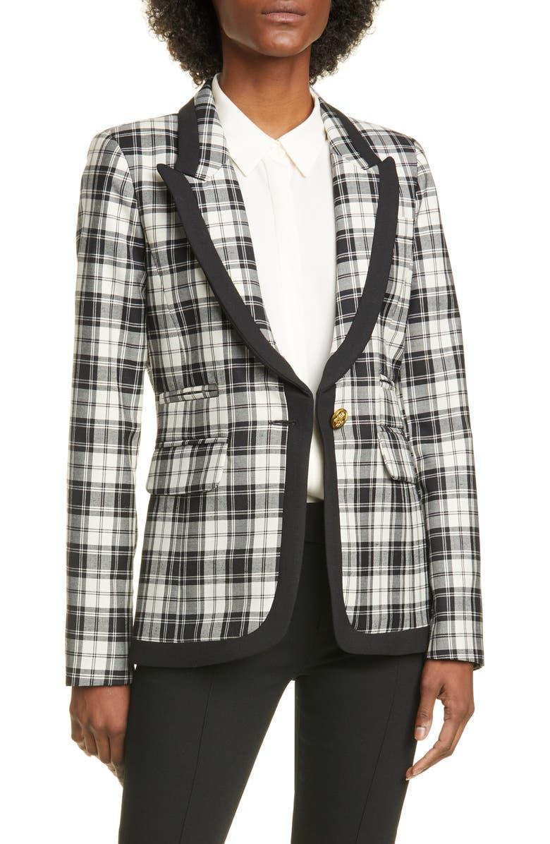 SMYTHE Plaid Wool Blazer, Main, color, BLACK/ WHITE PLAID