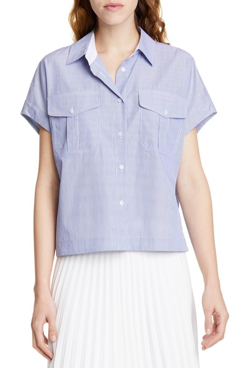 JUDITH & CHARLES Figari Pinstripe Cotton Poplin Blouse, Main, color, NAVY