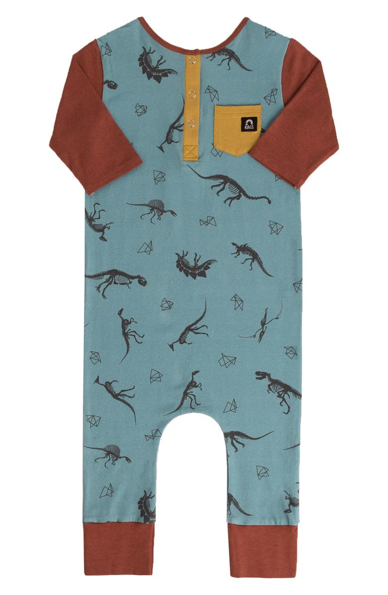 RAGS Dino Print Henley Romper, Main, color, 400