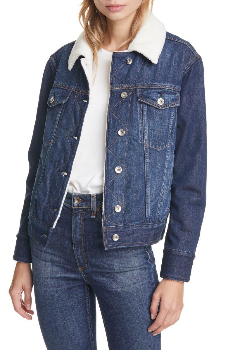RAG & BONE Classic Fleece Lined Denim Trucker Jacket, Main, color, CHELSEA