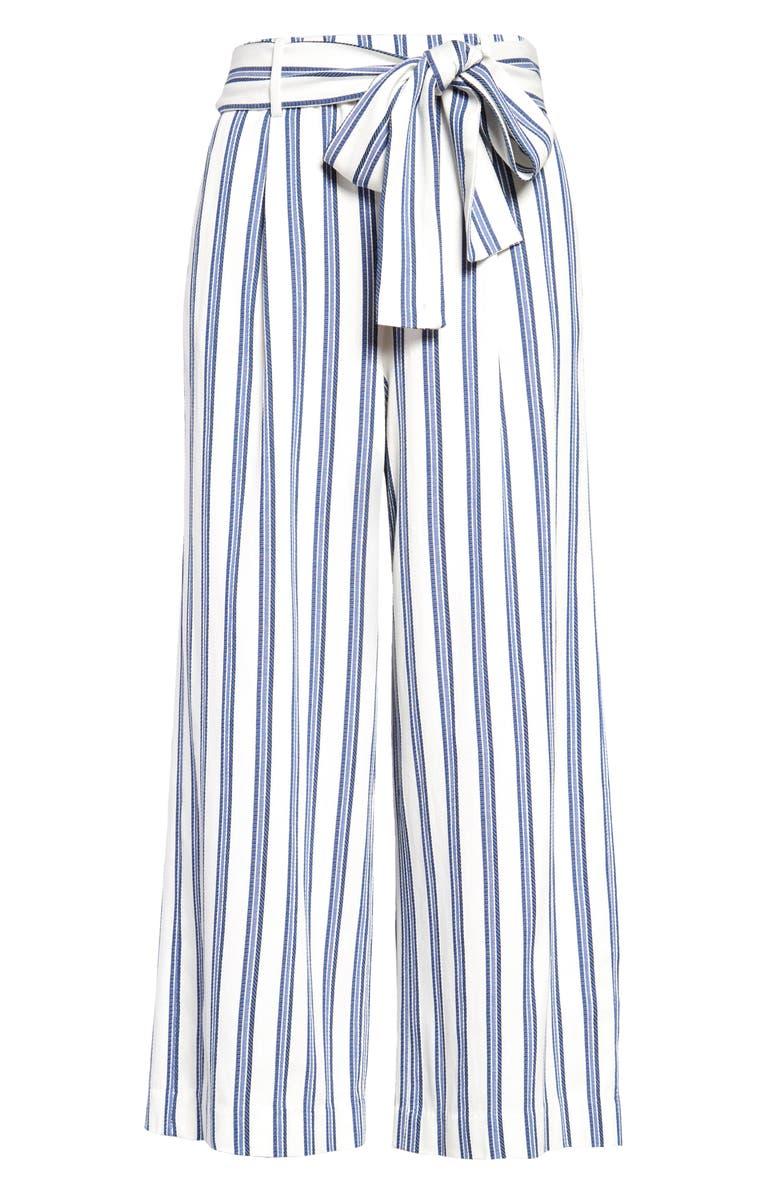 HALOGEN<SUP>®</SUP> Stripe Crop Wide Leg Pants, Main, color, IVORY- BLUE STRIPE