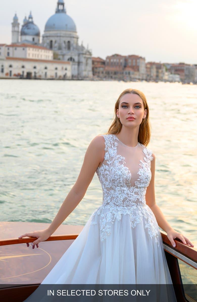 BLISS MONIQUE LHUILLIER Illusion Lace Wedding Dress, Main, color, SILK WHITE / LATTE