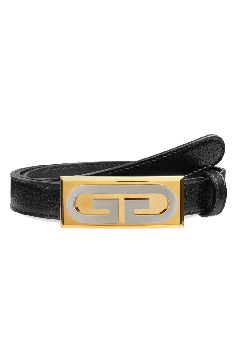 GUCCI New GG Runway Leather Belt, Main, color, BLACK