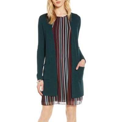 Halogen Long Ribbed Cardigan, Green