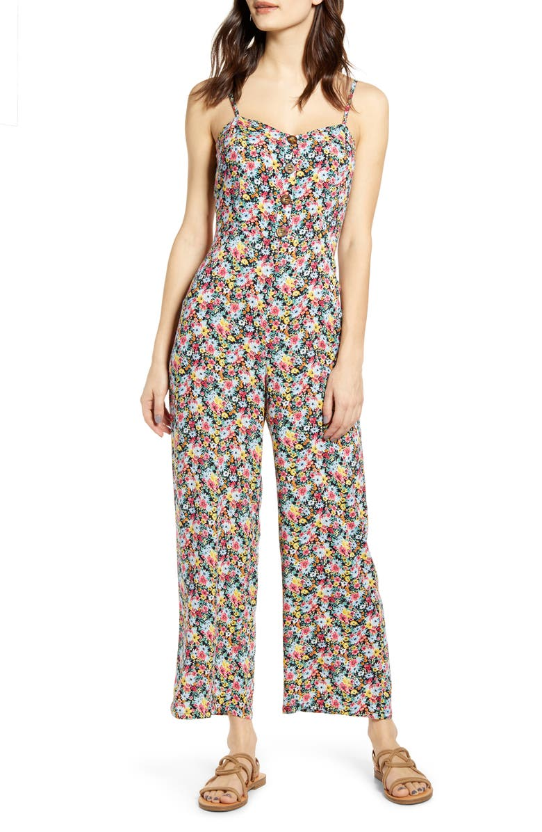 MIMI CHICA Floral Tie Back Jumpsuit, Main, color, BLACK DITSY FLORAL