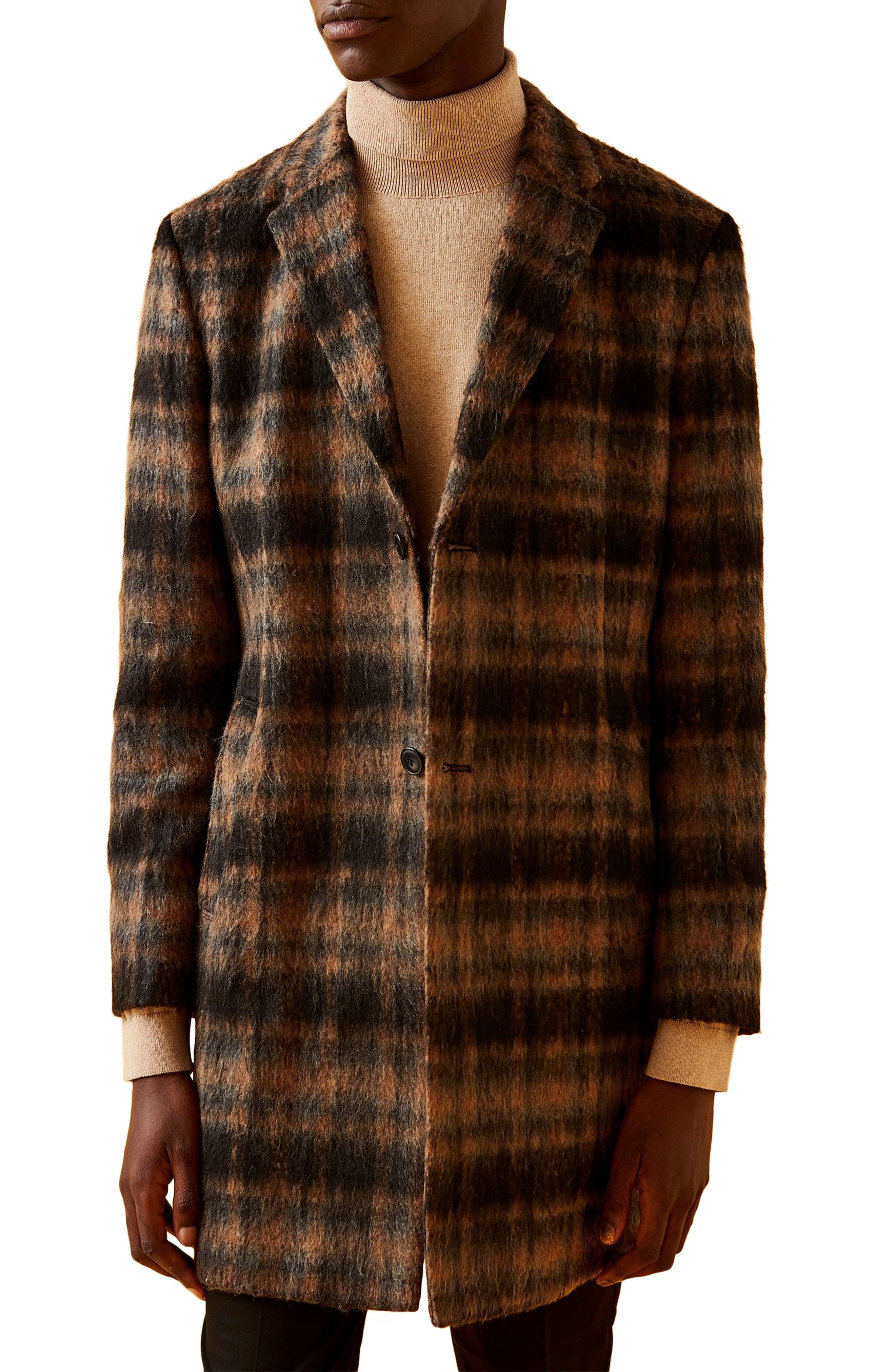 Men's Vintage Jackets & Coats Mens Topman Wool Blend Check Overcoat $175.00 AT vintagedancer.com