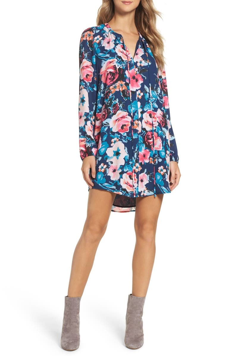 CHARLES HENRY Floral Shirtdress, Main, color, 473
