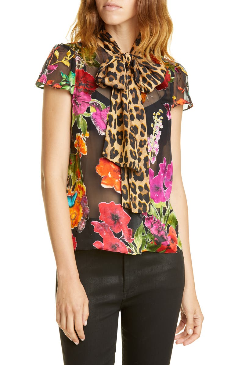 ALICE + OLIVIA Jeannie Pattern Mix Puff Sleeve Bow Blouse, Main, color, GARDEN FLORAL/ COMBO