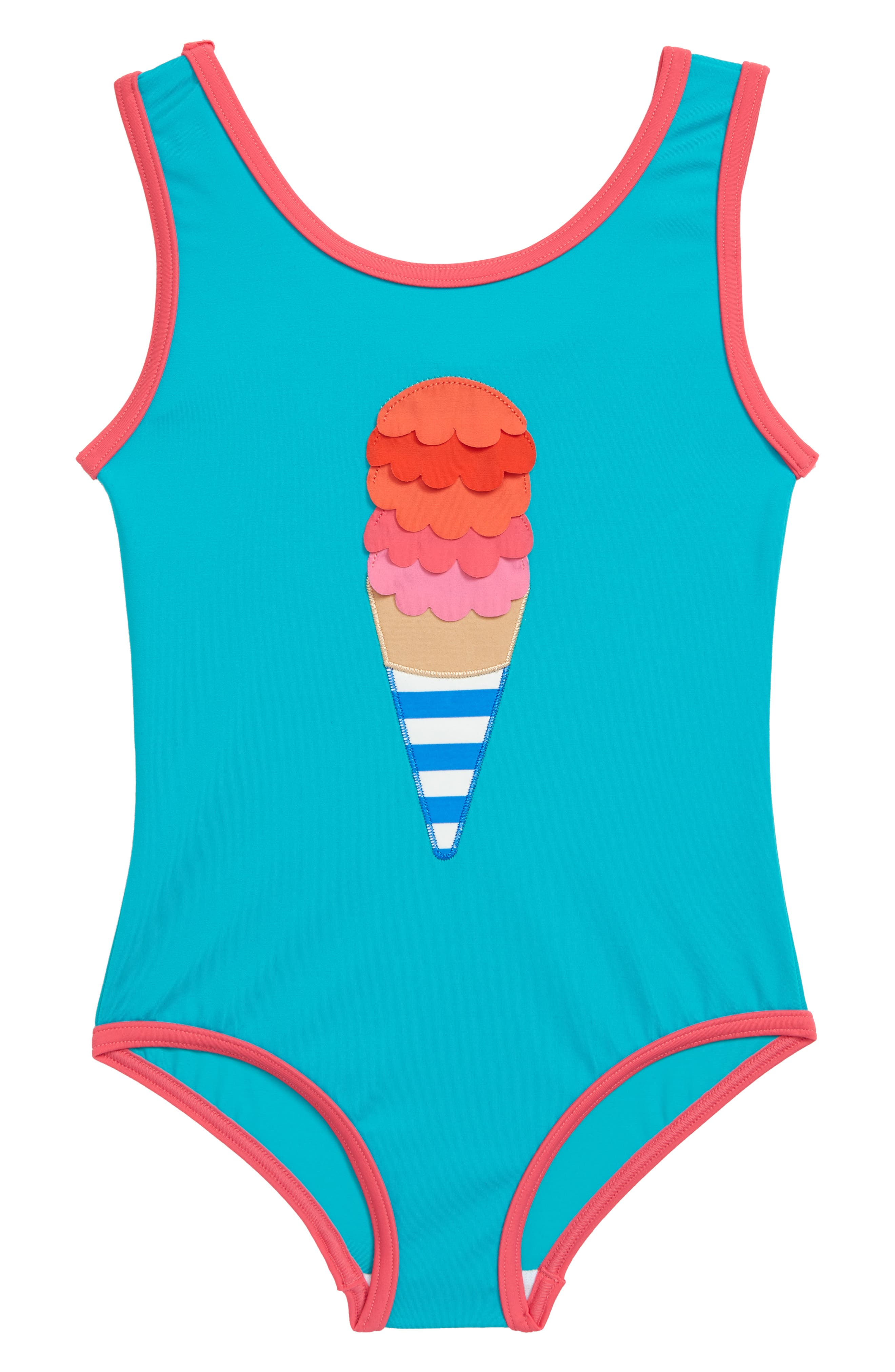 Fun Detail One-Piece Swimsuit, Main, color, JADE GREEN IVORY ICE CREAM