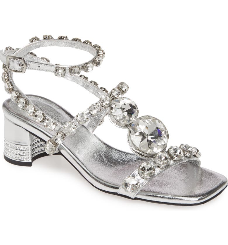JEFFREY CAMPBELL Anastas Jewel Sandal, Main, color, SILVER/ SILVER