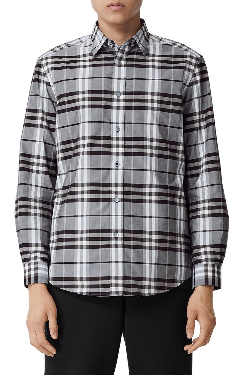 BURBERRY Caxton Vintage Check Button-Up Shirt, Main, color, BLUE