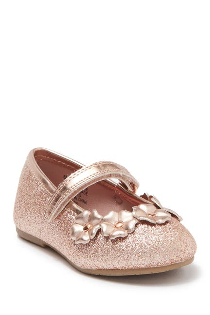 Image of Valencia Imports Lil Masie Floral Applique Glitter Ballet Flat