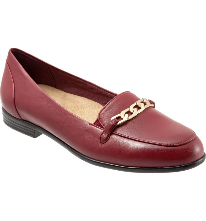 TROTTERS Anastasia Flat, Main, color, DARK RED LEATHER