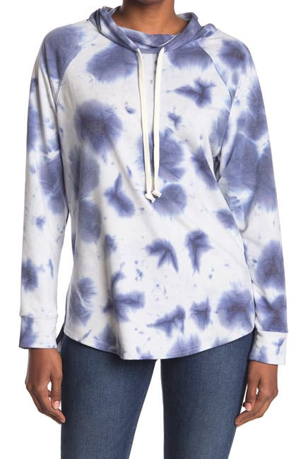 Image of MELLODAY Tie Dye Drawstring Mock Neck Sweater