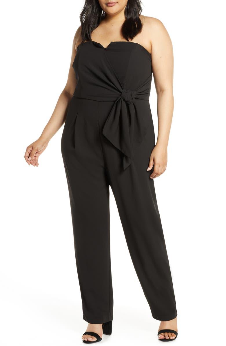 ELOQUII Strapless Faux Wrap Jumpsuit, Main, color, BLACK