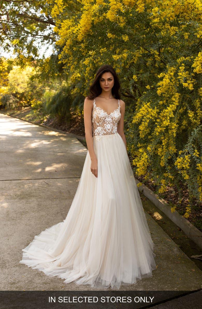 PRONOVIAS Ursa Embellished Tulle A-Line Wedding Dress, Main, color, OFF WHITE LIGHT BEIGE CRYSTAL