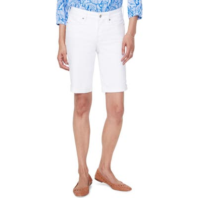 Nydj Briella High Waist Roll Cuff Denim Shorts, White