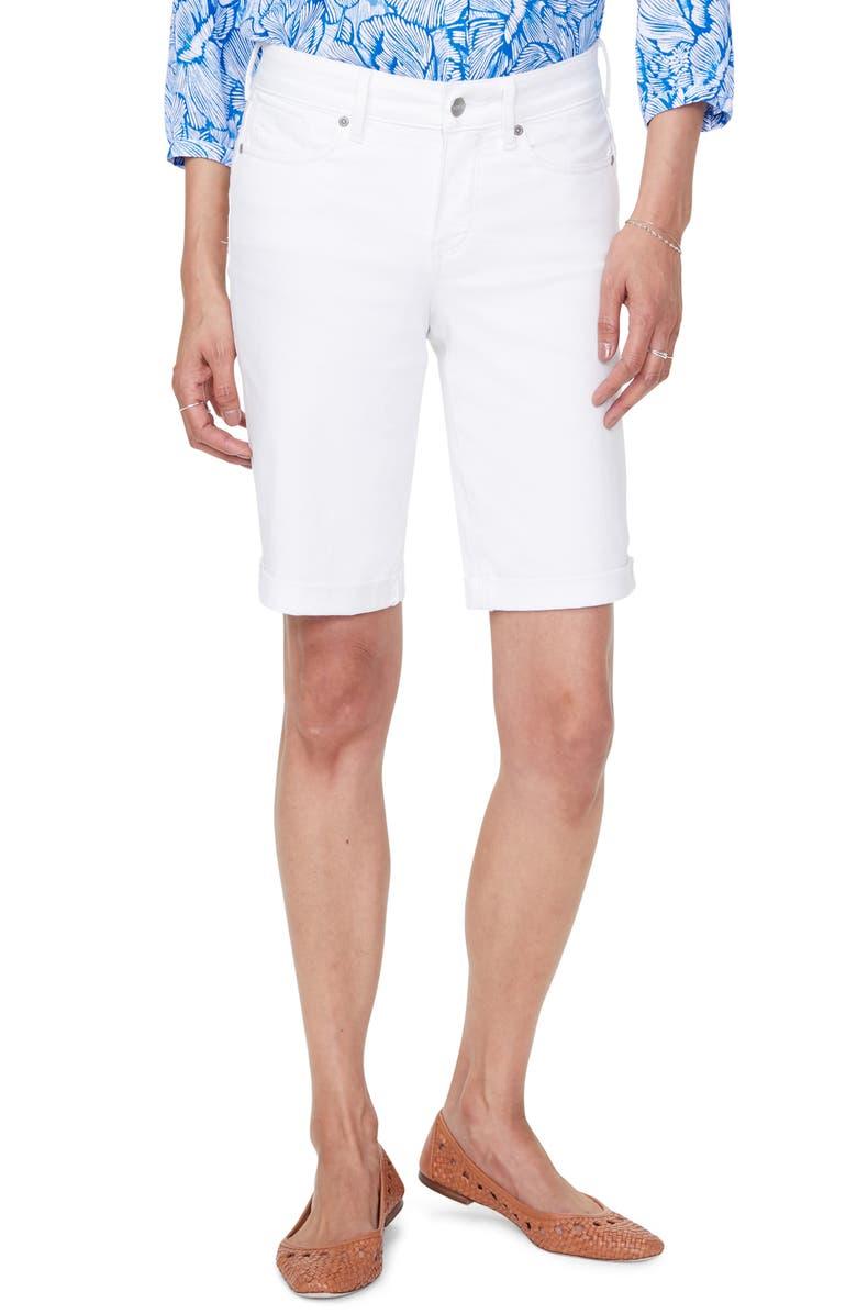 NYDJ Briella High Waist Roll Cuff Denim Shorts, Main, color, OPTIC WHITE