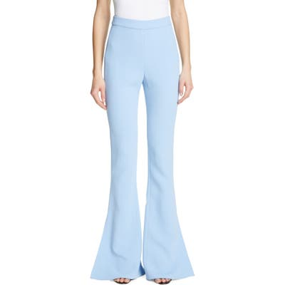 Cushnie High Waist Split Flare Pants, Blue