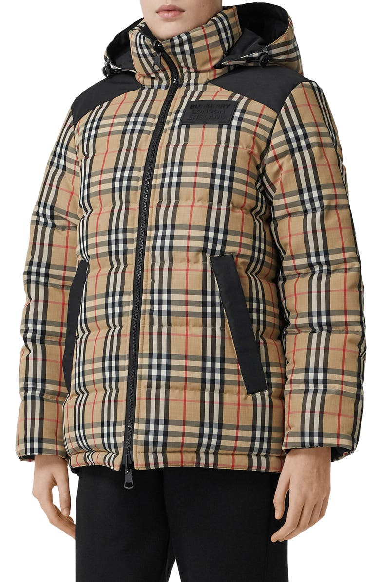 BURBERRY Newbattle Reversible Vintage Check Down Puffer Coat, Main, color, ARCHIVE BEIGE IP CHK