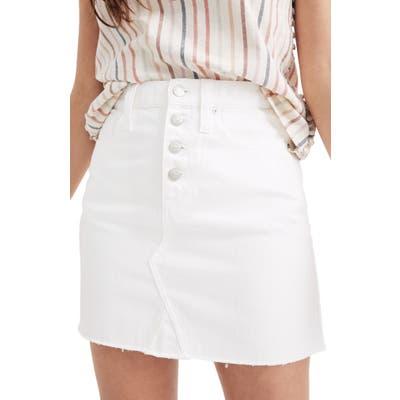Madewell Button Front Denim A-Line Miniskirt, White
