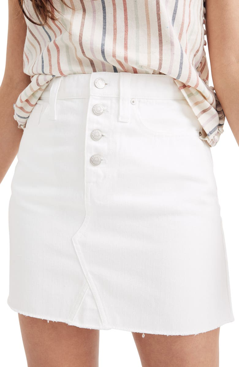 MADEWELL Button Front Denim A-Line Miniskirt, Main, color, TILE WHITE