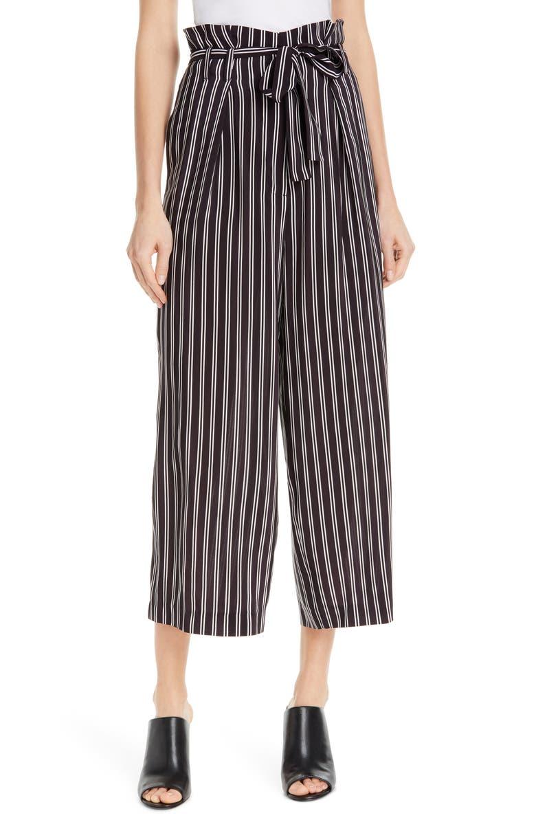 JUDITH & CHARLES Shadow Stripe Silk Paperbag Pants, Main, color, BLACKBERRY