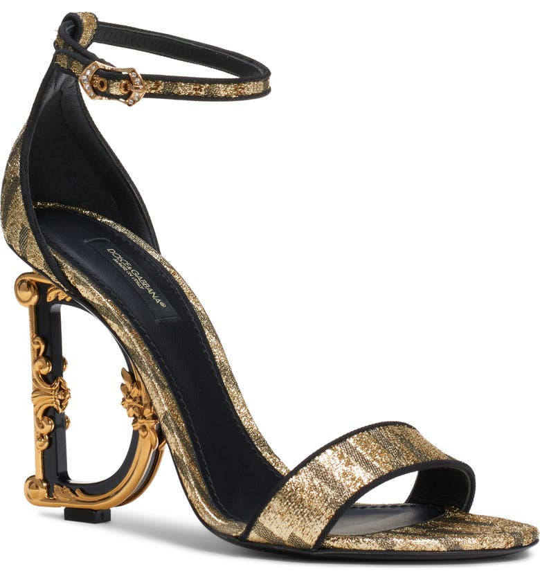 DOLCE&GABBANA Logo Heel Metallic Sandal, Main, color, GOLD/ BLACK