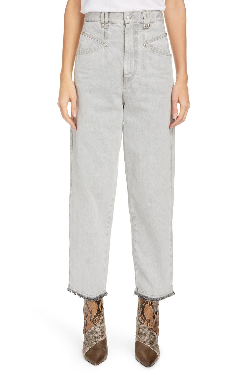 ISABEL MARANT High Waist Stud Detail Wide Leg Jeans, Main, color, LIGHT GREY