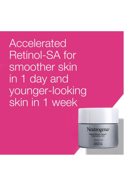 Image of Neutrogena Rapid Wrinkle Repair Retinol Regenerating Face Cream & Hyaluronic Acid Anti-Wrinkle Face Moisturizer, Neck Cream, with Hyaluronic Acid & Retinol, Travel Size, 0.5 oz
