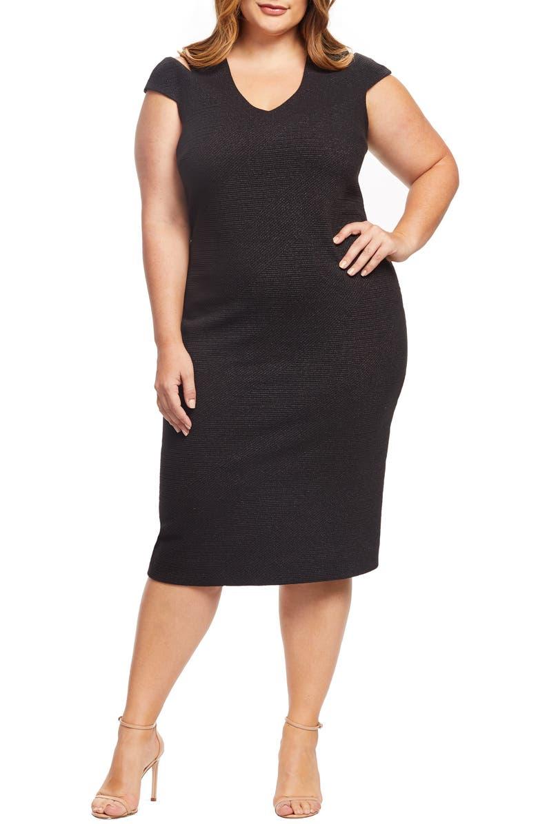 DRESS THE POPULATION Bryce Slit Sleeve Knit Midi Dress, Main, color, 001