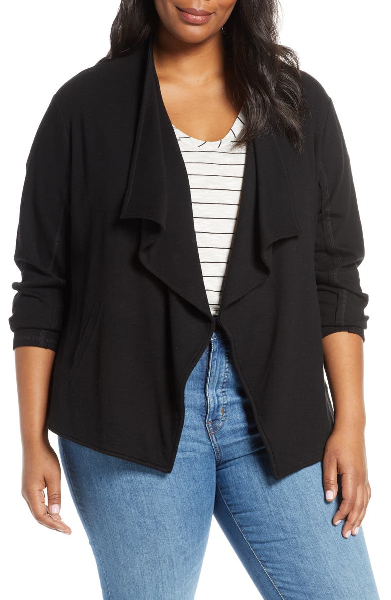 CASLON<SUP>®</SUP> Drape Collar Knit Blazer, Main, color, BLACK