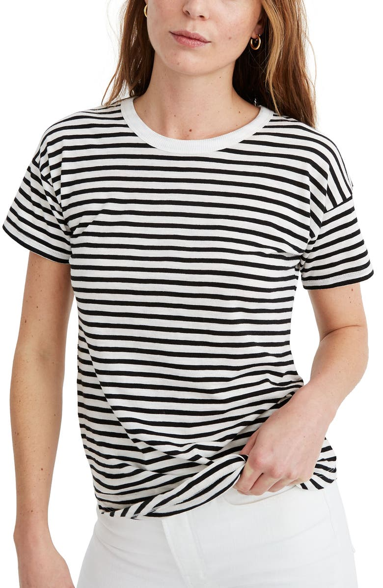 MADEWELL Bridgewater Stripe Whisper Cotton Ribbed Crewneck T-Shirt, Main, color, CAMEL STRIPE TRUE BLACK