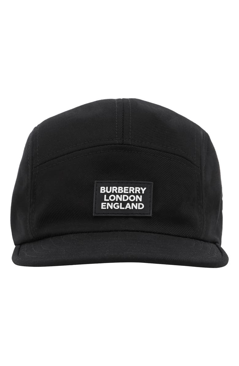 BURBERRY Twill Camp Hat, Main, color, BLACK