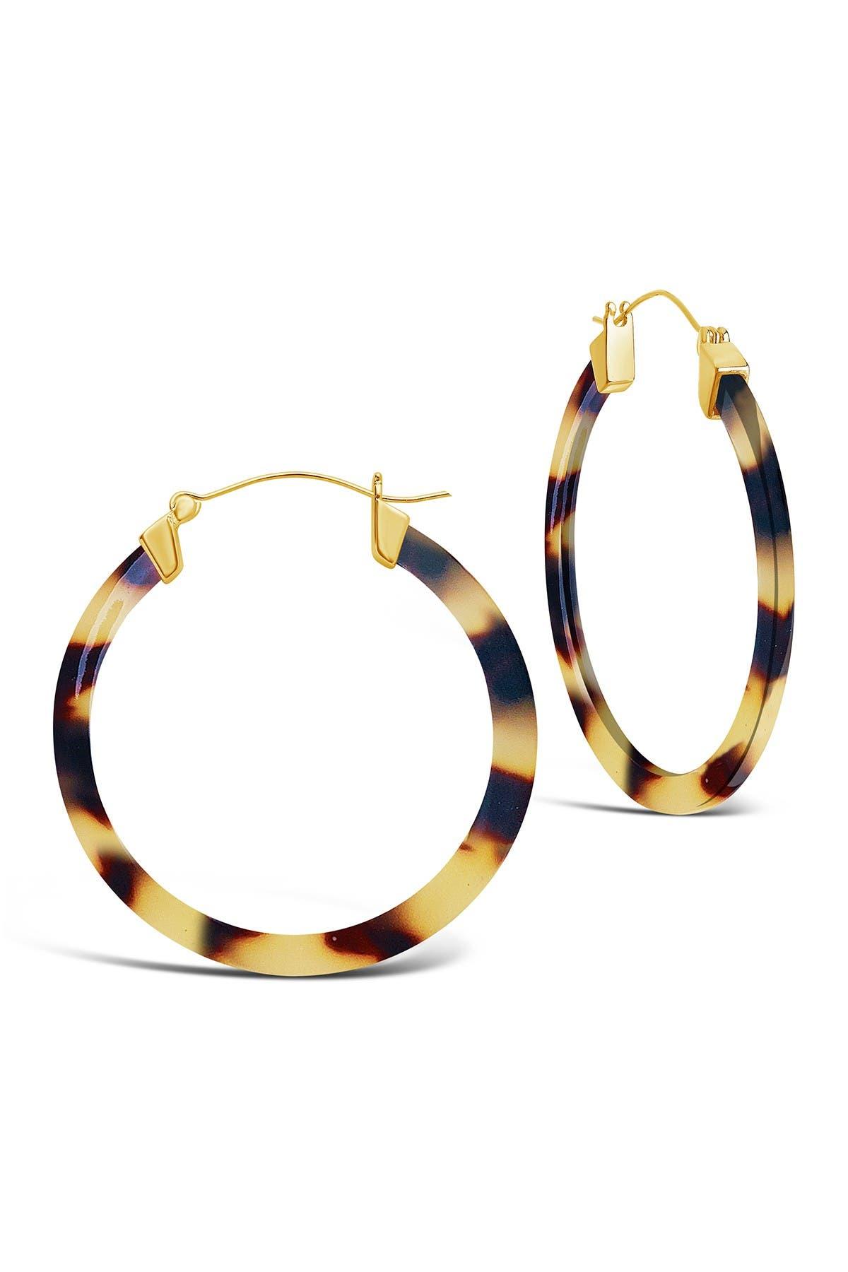 Image of Sterling Forever 50mm Honey Tortoise Acetate Hoop Earrings