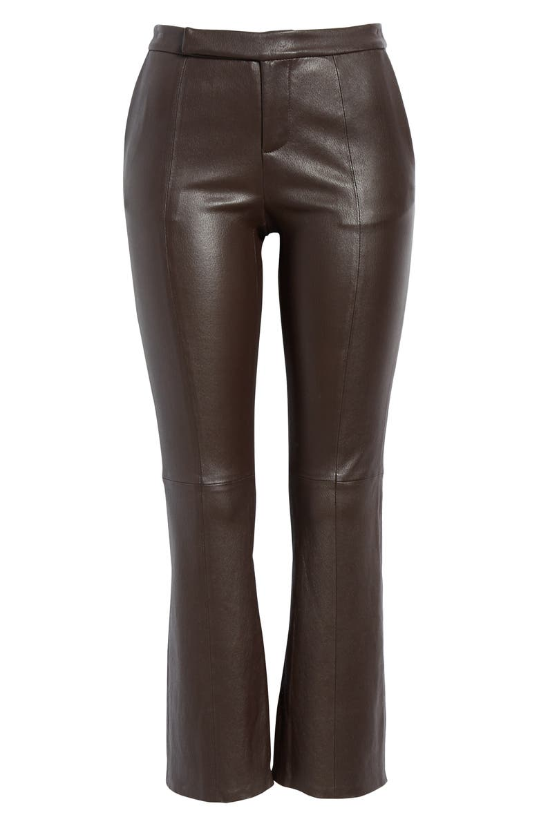 EQUIPMENT Sebritte Leather Crop Trousers, Alternate, color, MOLE
