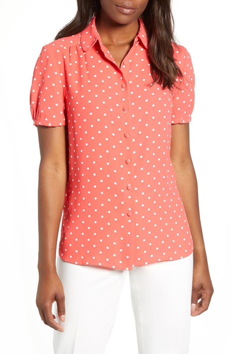 ANNE KLEIN Dot Print Button-Up Blouse, Main, color, CAPE COD/ ANNE WHITE