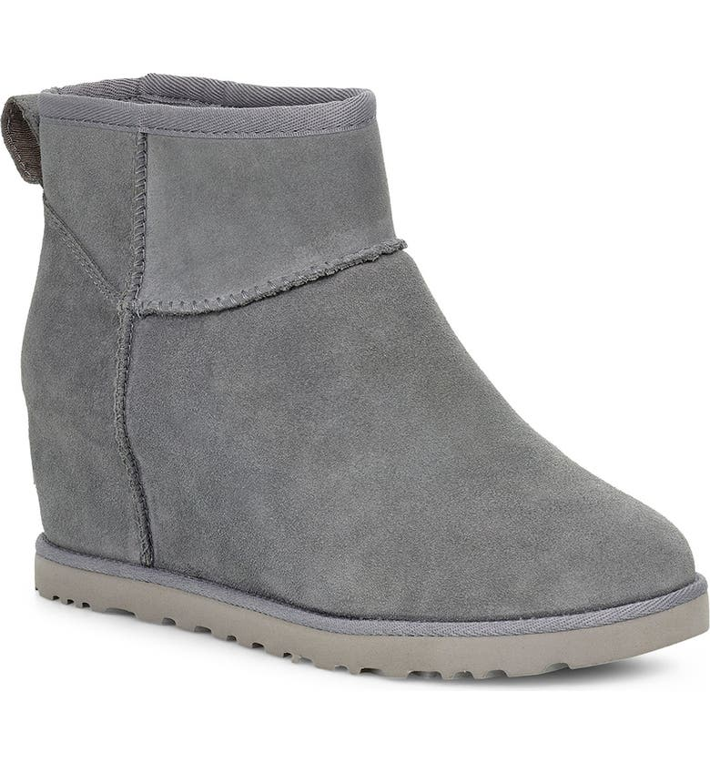 UGG<SUP>®</SUP> Classic Mini Wedge Bootie, Main, color, GEYSER SUEDE