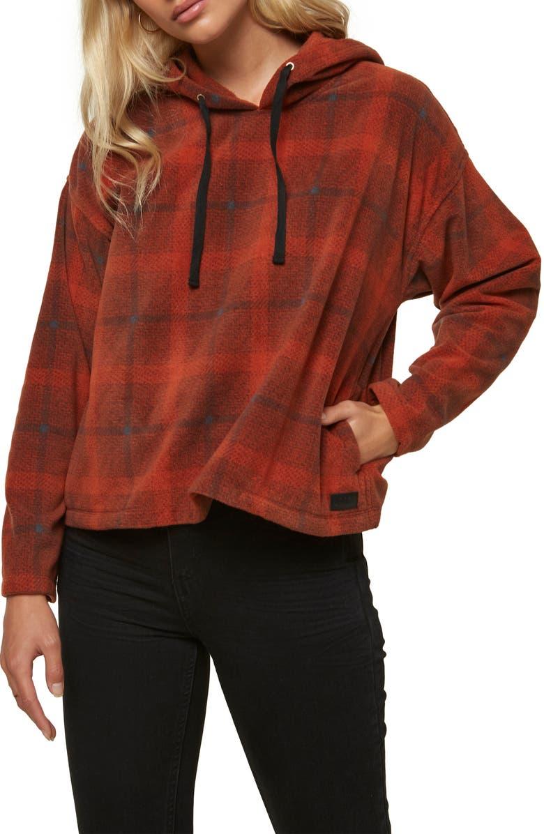 O'NEILL Hampton Fleece Hooded Pullover, Main, color, REDWOOD