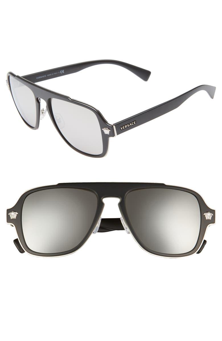 VERSACE 56mm Mirrored Aviator Sunglasses, Main, color, 001