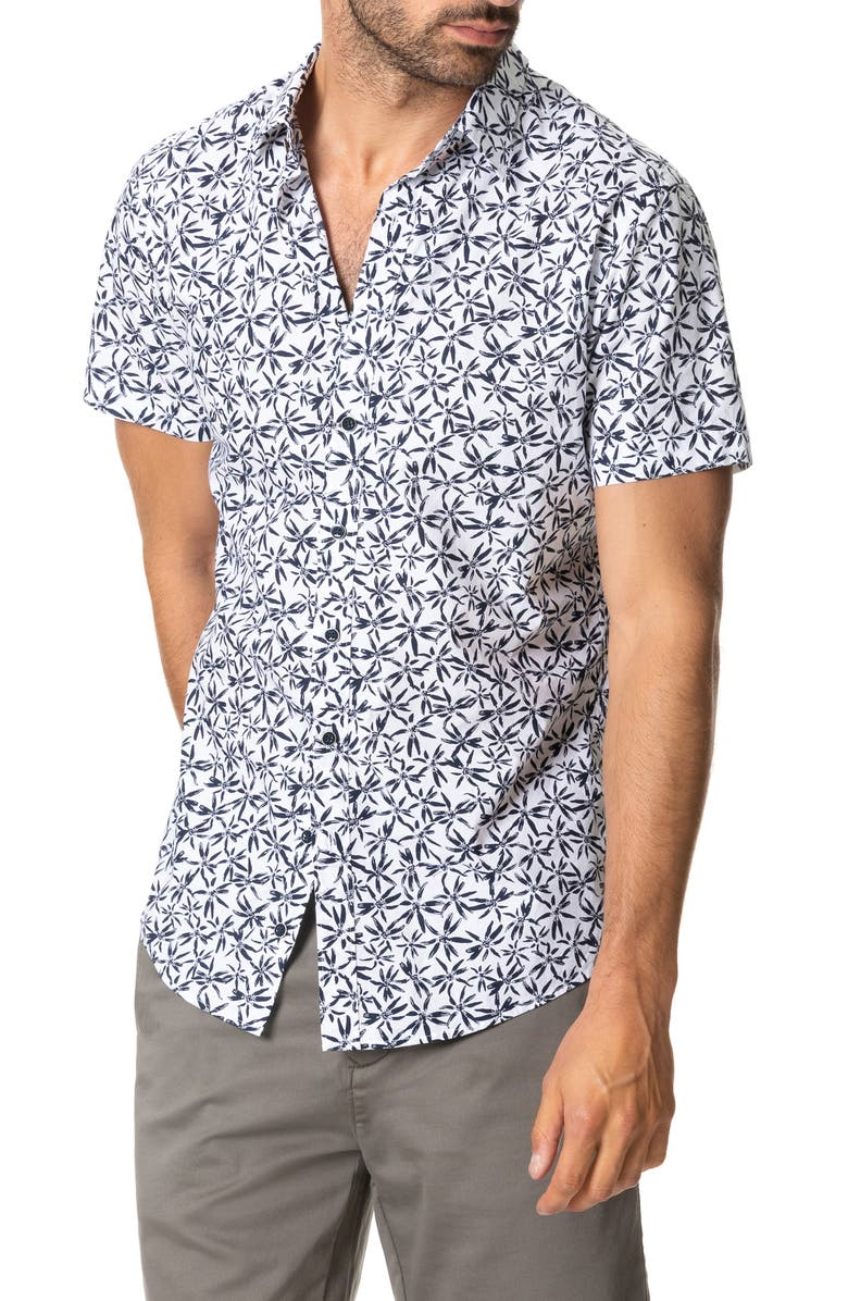 RODD & GUNN Whitstone Floral Short Sleeve Button-Up Shirt, Main, color, IVORY