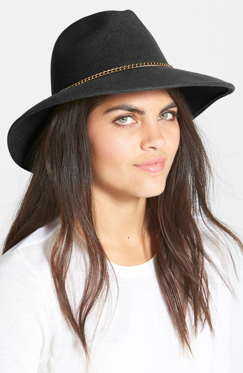 NORDSTROM Chain Trim Wool Fedora, Main, color, 001
