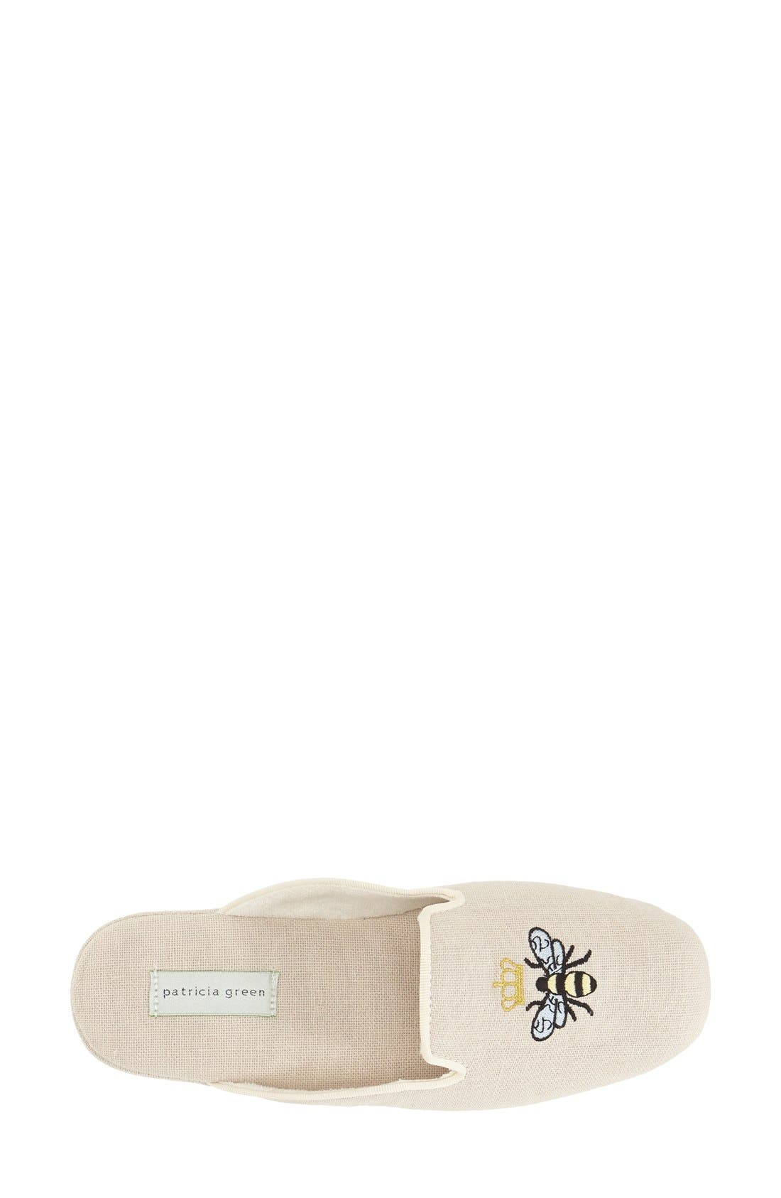 ,                             'Queen Bee' Embroidered Slipper,                             Alternate thumbnail 3, color,                             NATURAL