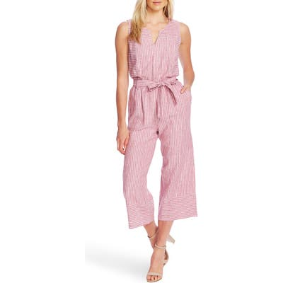 Vince Camuto Ticking Stripe Belted Jumpsuit